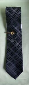 New John Ashford Black And Gray Plaid Christmas Tie 100% Polyester Retail $39.50