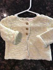 New Zara Mini Baby Knit Woven Yellow White button Sweater Cardigan 1-3 Months