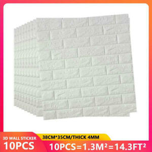 10pcs Large 3D Soft Tile Brick Wall Sticker Self adhesive Waterproof Foam Panel