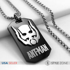 Stainless Steel Super Heros Ant-Men Logo Dog Tag Pendent Round Box Necklace 14Y