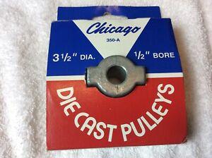 "Chicago  350-A Die Cast Pulley 3-1/2"" Diameter dia 1/2"" Bore   V belt"