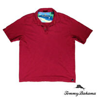 Tommy Bahama 100% Pima Cotton Mens L Casual Short Sleeve Collared Shirt Red