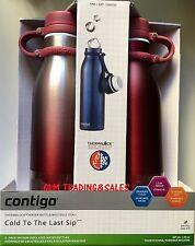 2x Avex by Contigo Vaccum Insulated Water Drink Bottle Mug Thermos Bpafree Red