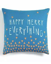 Holiday Lane Happy Merry Everything Decorative Pillow Blue Turquoise Nwt $80