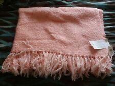 Vintage Churchill Weavers Collectible Handwoven Throw 70 X 48 Pink Blush Fringe