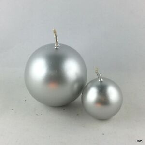 Ball Candles Silver Glossy Deco Candles Christmas Decoration Wedding Easter