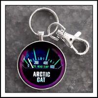 Vintage Arctic Cat Snowmobile Temperature Gauge Photo Keychain
