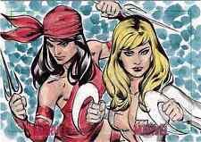 Women of Marvel Series Two Sketch Card Puzzle by Michael Sta.Maria of Elektra