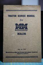 Minneapolis Moline 1937 tractor service manual