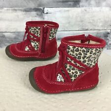 Stride Rite SM Holly Red Suede Leopard Sparkle Short Boots - Girls 3.5 US 19 EUR