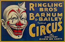Ringling Brother's Circus White Hat Clown 11x17 Poster