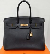 Hermes Birkin 35cm Midnight Blue Ocean Clemence GHW Bag 2014