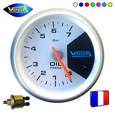 ► Manomètre Racing Vega® France 52mm Pression Huile 7 couleurs 0-7 bars ◄
