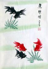 "Chinese silk painting Goldfish Fish 15x11"" gongbi watercolor feng shui ink art"