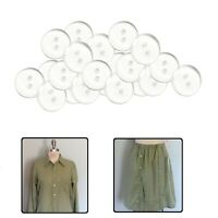 15mm Clear Plastic Button 2 Hole Transparent Jigger Backing Craft Bedding Sewing