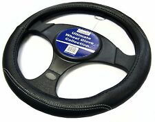 Black Leather White Stitching Steering Wheel Cover Glove Protector Car / Van