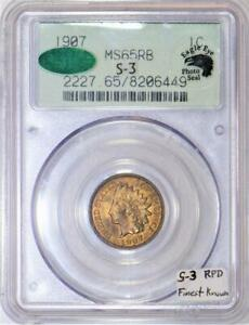1907 Indian Head Cent PCGS & CAC  MS-65 RB Photo Seal; S-3 RPD; Finest Known!