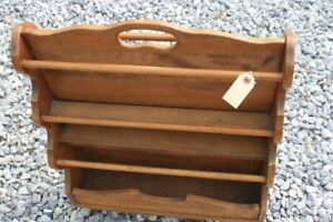 """Colonial Magazine Rack Stand 2 Sided Maple 28"""" T Book Rack Storage Vintage"""