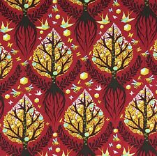By 1/2 Yard ~ Free Spirit Birds & Bees Tula Pink Fabric ~ Tree of Life Cinnamon