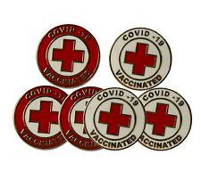 Vaccinated medical alert Enamel Jacket Lapel Pin Backpack Memorial Brooch RED
