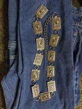 Vintage Concho Chain Silver Tone Belt Western Aztec