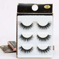 3-6 Pair/set Bushy Cross False 3D Natural Eyelashes Mink Hair Eye Lashes Black