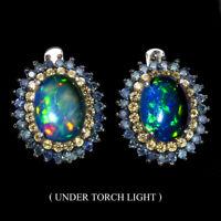 Oval Black Opal 9x7mm Sapphire Round Diamond Cut 925 Sterling Silver Earrings