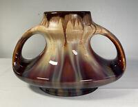 Antique Faiencerie Thulin Art Deco Belgium Pottery Drip Glaze Double Handle Vase