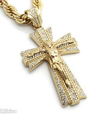 Mens Large Jesus Cross Gold Iced Out Pendant 30 Inch Necklace Rope Chain G01