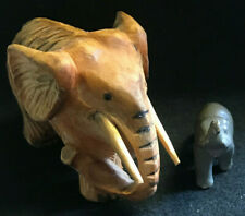 Vtg Lot of 3 Elephant Figurines Big and Small Hand Carved Wood and Glass