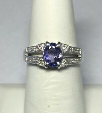 argento sterling ORIGINALE 0.75 KT TANZANITE & ANELLO DIAMANTE