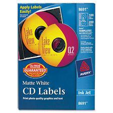 Avery  Inkjet CD/DVD Labels, Matte White, 100/Pack, PK - AVE8691