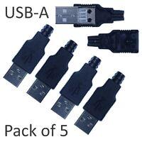 5pcs USB-A 4-pin Male Connector - Solder Kit  Black Plastic Shell NEW DIY UK