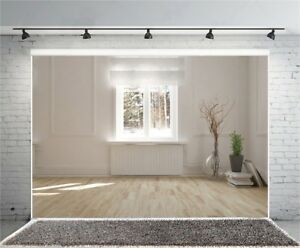 7x5FT Vinyl Photo Backdrops White Wall With Sunlight Photography Background