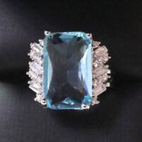 Sparkling Radiant Blue Aquamarine Ring Women Jewelry 14K Gold Plated Nickel Free