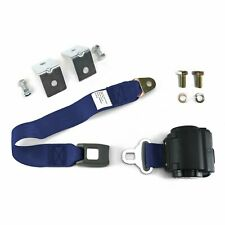 2pt Dark Blue Retractable Standard Buckle Seat Belt w/ Anchor Mounting Kit