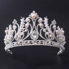 8cm High Large Crystal Beads Pearl Wedding Bridal Party Pageant Prom Tiara Crown