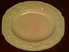 Crown Ducal Florentine English Ironstone Oval Platter Dark Cream Embossed Rim