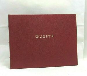 Francis-Orr Beverly Hills Guest Book Pebbled Leather Bound Hard Cover Dark Red
