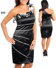 B90 Womens Black Size 16/18 1 Shoulder Pencil Midi Lace Party Formal Slim Dress