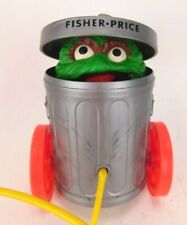 Vintage Fisher-Price Oscar The Grouch #177 Muppets Pop Up Pull Toy Works