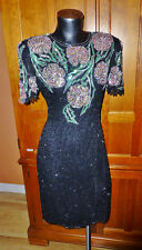 Vtg 80s SCALA Sequin Beads SILK Embroidery GLAM Cocktail Evening Party DRESS PL