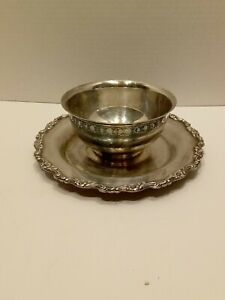 Gravy Dish Bowl Oneida Royal Provincial Silverplate Serving Bowl Attached Plate