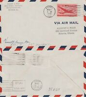 US 1948 AM 2 FIRST FLIGHT FLOWN COVER QUINCY ILL TO CHICAGO ILL