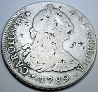 1789 IJ Spanish Silver 8 Reales Eight Real Counterstamp Chopmarks Colonial Coin