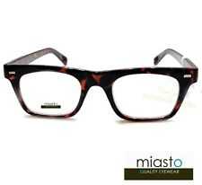 "MIASTO ""HARVARD"" NERD READER READING GLASSES+1.50 TORTOISE (RECTANGLE FLAT TOP)"