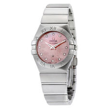 Omega Constellation Light Coral Mother of Pearl Stainless Steel Quartz Ladies