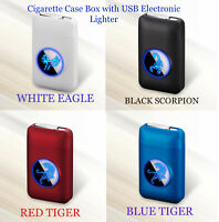 Metal Cigarette Case With USB Electronic Lighter Tobacco Cigarette Storage Box