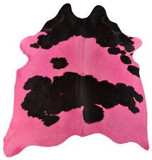 PREMIUM Peau de vache taureau rose noir coloré 200 x 170 cm