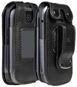 Black Vegan Leather Case with Belt Clip for ZTE Cymbal LTE Z233, Z320, Z233VPP
